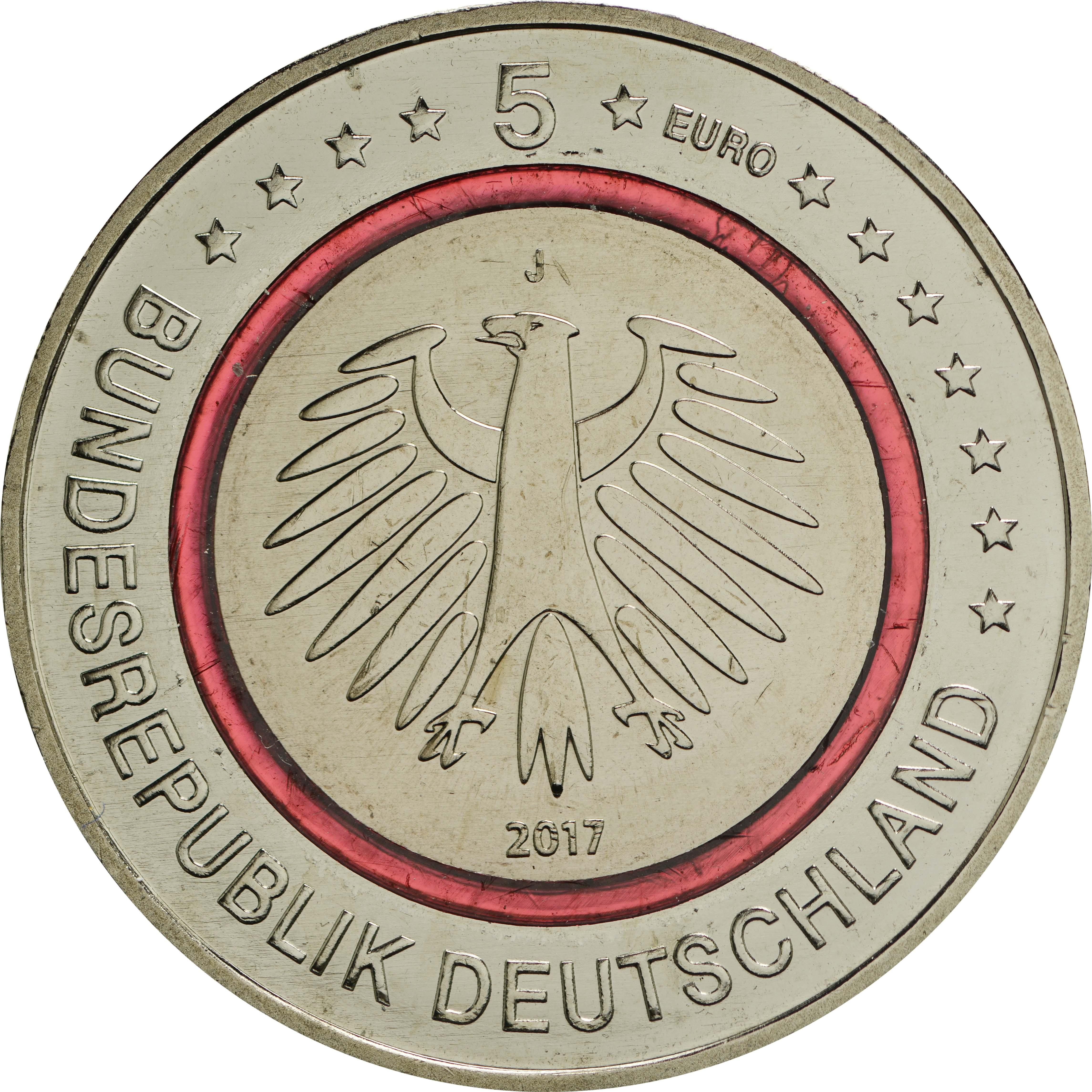 5 Euro Münze Tropische Zone 2017 Aus Deutschland Mit Rotem Ring