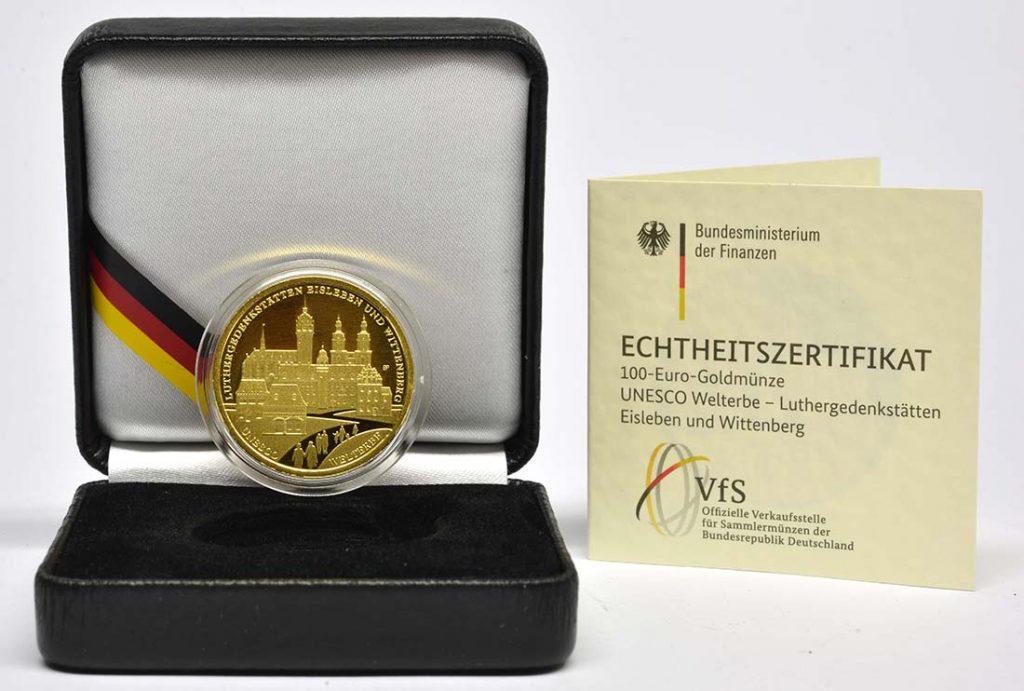 Verpackung der 100 Euro Eisleben und Wittenberg