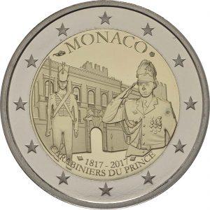 Rückseite 2 Euro Monaco 2017 PP Karabinierskompanie